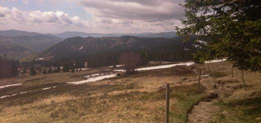 Feldbergsteig, Feldberg höchster Berg im Schwarzwald, weite schöne Aussicht, trist und Schnee im Frühjahr, schmaler teils demolierter Pfad, Wolken