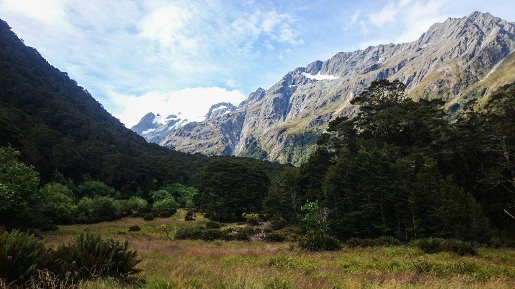Wanderung Routeburn Track - Great Walk im Fiordland Nationalpark Südinsel Neuseeland, zauberhaftes Routeburn Tal Valley, Wanderweg Routeburn im Fiordland Nationalpark, beeindruckende Berge mit Gipfeln über der Baumgrenze, herrlicher Sommertag auf Südinsel Neuseelands, traumhafte Wanderung, wunderschön, beeindruckend, in der Ferne schneebedeckte Gipfel