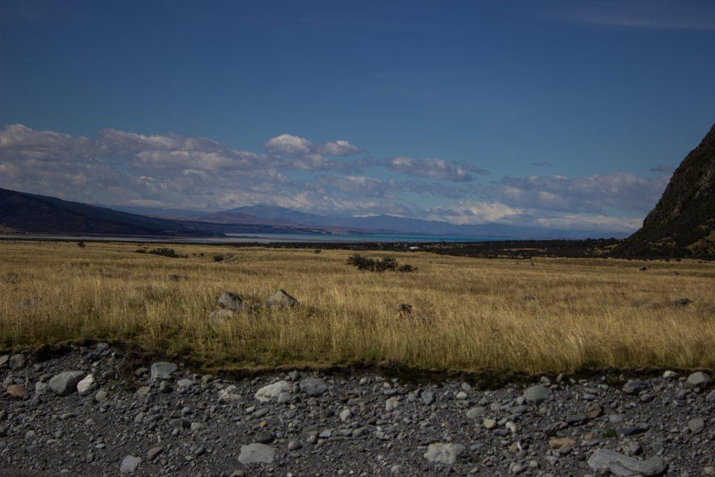 Wanderungen im Mount Cook Nationalpark, Aoraki, Südinsel Neuseeland, Wanderung im Mount Cook Nationalpark, steiniger Schotter, raue, lebensfeindliche und doch wunderschöne Umgebung, in der Ferne See und Berge, Wiese in rauer Landschaft
