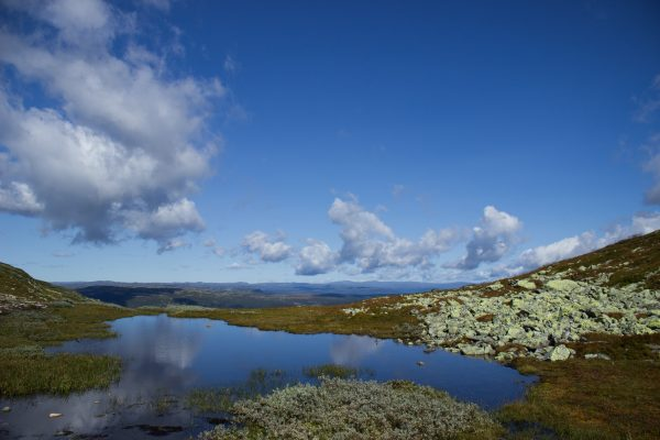 Wanderung auf den Gaustatoppen in Norwegen, startet in der Nähe des Ortes Rjukan, karger Berg in exponierter Lage
