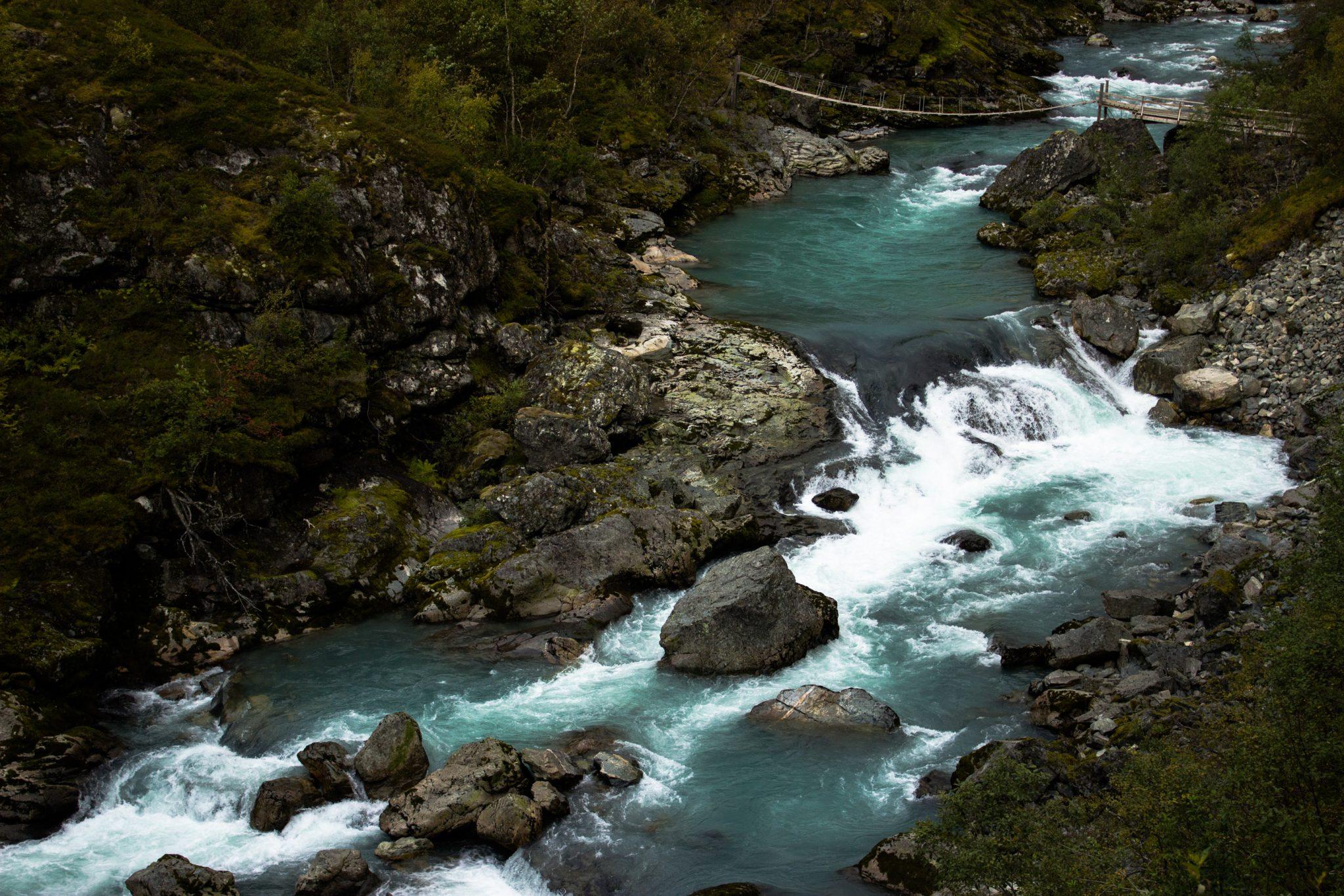 Wanderung zum Vettisfossen Wasserfall, höchster unregulierter Wasserfall in Norwegen, Blick von Brücke auf sehr klares Wasser im Fluß und schönen Wald, Blick auf andere Hängebrücke