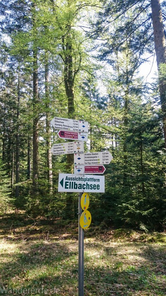 Kniebiser Heimatpfad - Genießerpfad, Wegweiser Schild zur Aussichtsplattform Ellbachsee