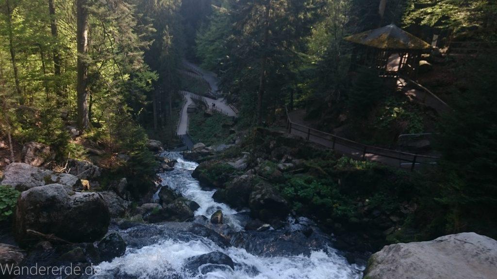 Die Triberger Wasserfälle, Aussicht von oben, große Steine, umringt von schönem Wald
