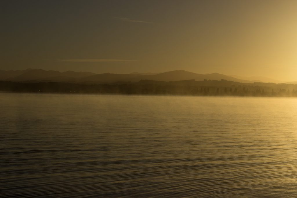 Wanderung Kepler Track - Great Walk, Wanderweg bei Bucht Brod Bay Campingplatz am schönen See Te Anau, herrliche Aussicht auf schönen See und Wald am anderen Ufer, dunkelblauer See, herrlicher Sommertag in Neuseeland Südinsel, Fiordland National Park, Wandertag beim Kepler Track