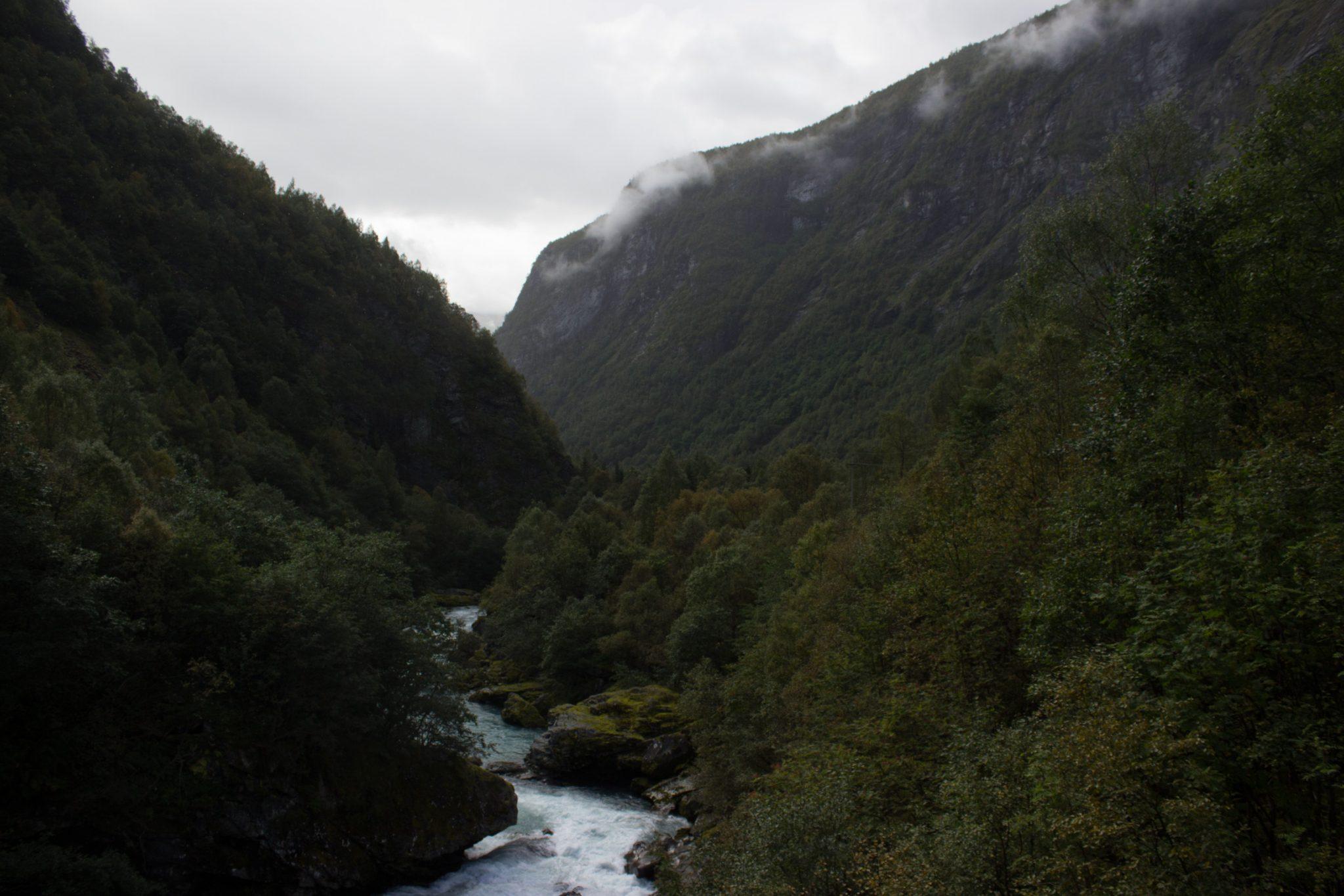 Wanderung zum Vettisfossen Wasserfall, höchster unregulierter Wasserfall in Norwegen, Blick von Brücke auf sehr klares Wasser im Fluß und schönen Wald umringt von Bergen