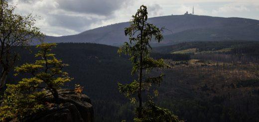 Von Bad Harzburg zur Rabenklippe und durchs Eckertal, Wanderung im Harz in Niedersachsen, Aussicht auf den Brocken, höchster Berg im Harz