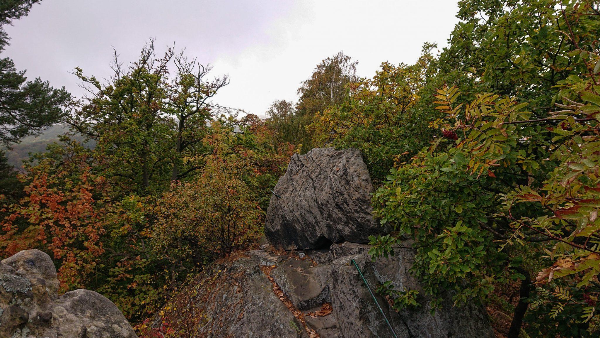 Rundwanderung auf der Blankenburger Teufelsmauer, Felsformation, Stufen in Stein geschlagen mit Trittsicherung, angrenzender Wald, Laub in Herbstfarben, große Steine