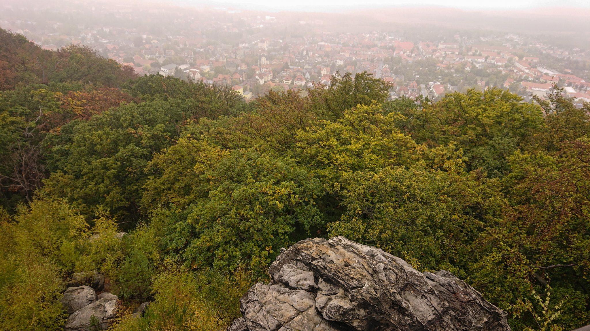 Rundwanderung auf der Blankenburger Teufelsmauer, Aussicht auf Stadt Blankenburg im Harz, schöner angrenzender Herbstwald, trist, wolkig, neblig