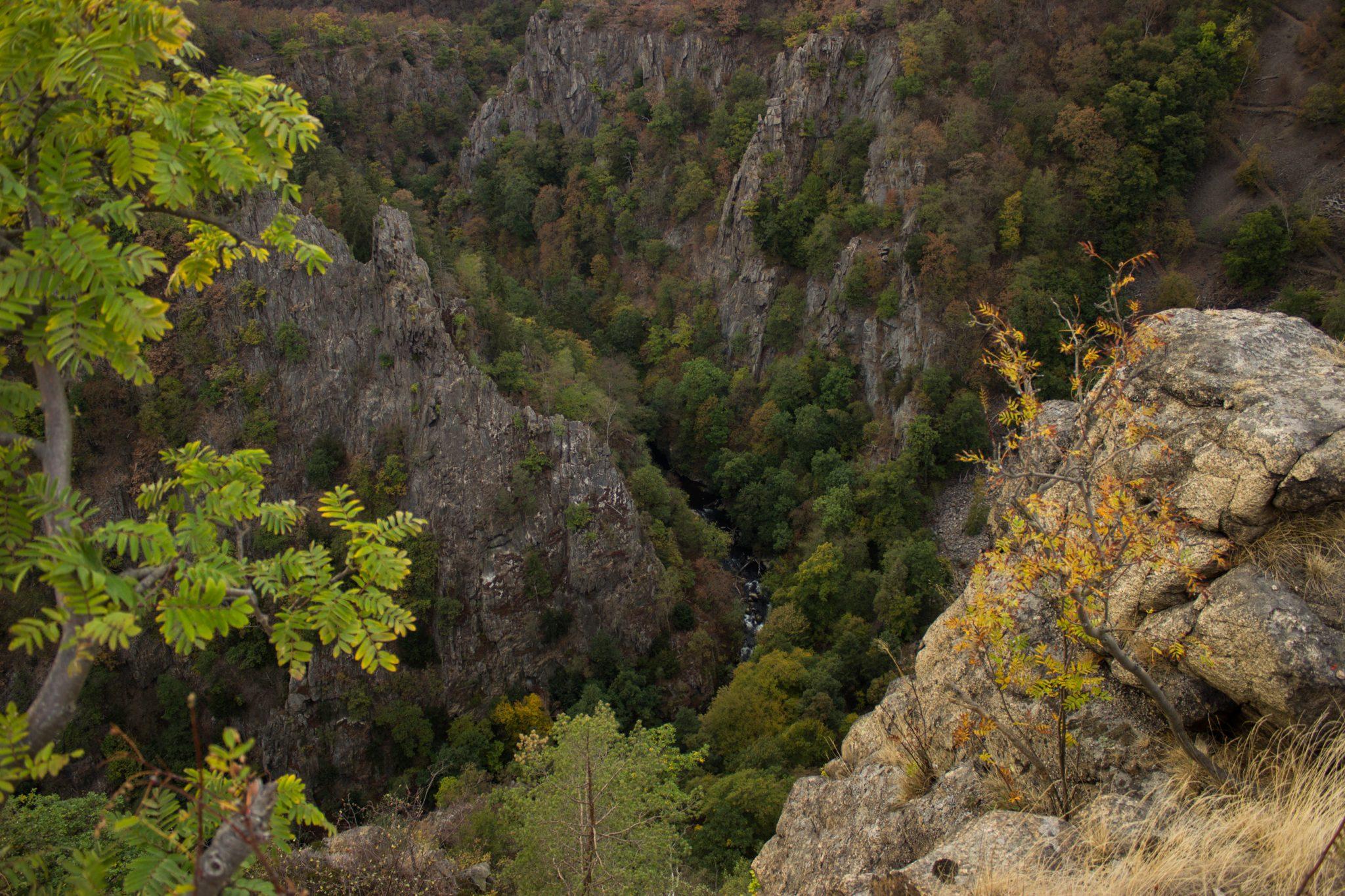 Rundwanderung Thale nach Treseburg - über Hexentanzplatz, Bodetal und Roßtrappe, beeindruckende Aussicht von der Roßtrappe auf das Bodetal, riesige Steilwände aus Fels, große tiefe Schlucht beim Fluß Bode im Bodetal, in der Nähe von Thale beim Aussichtspunkt Roßtrappe