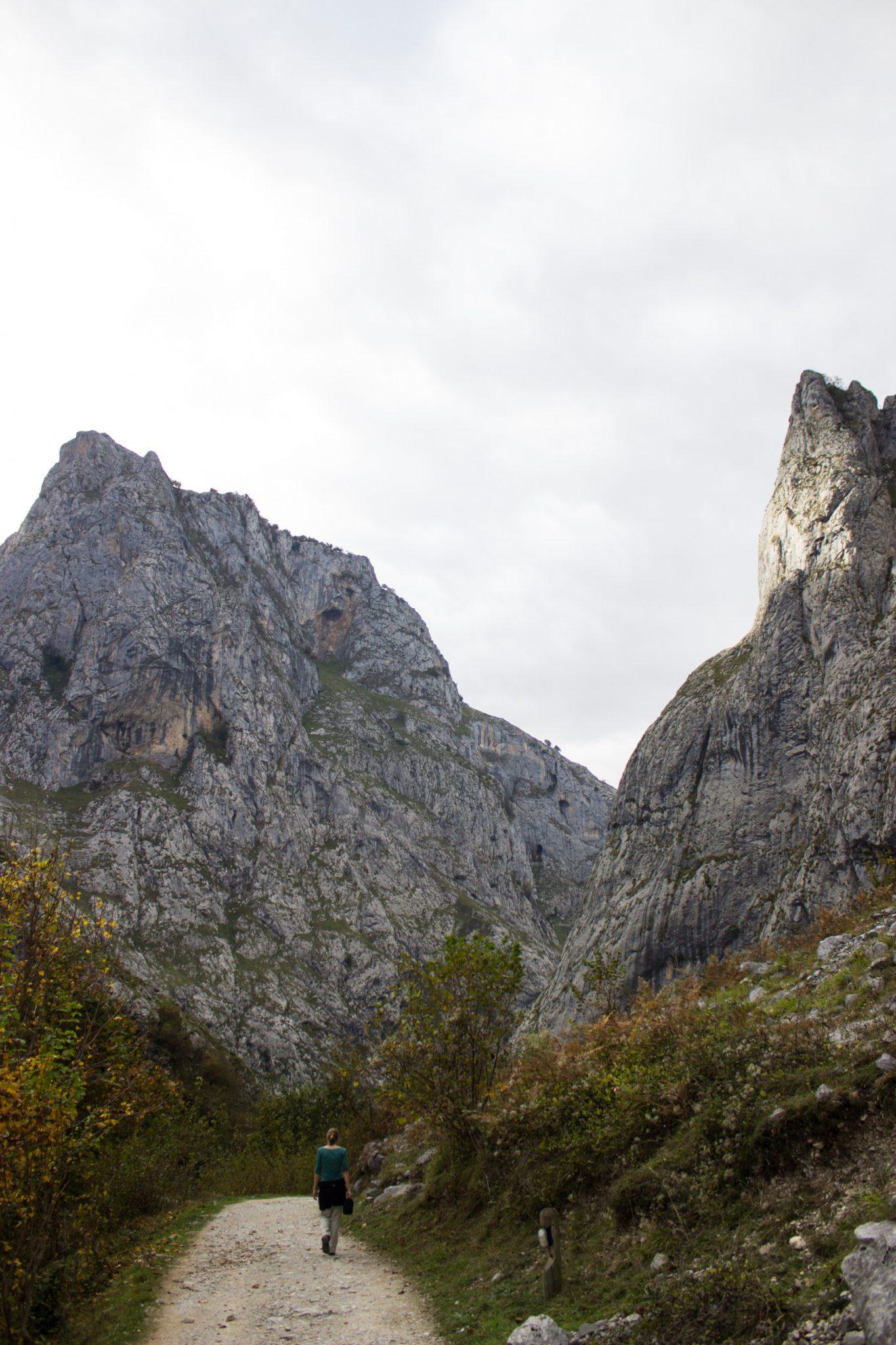 Wanderung Poncebos nach Bulnes in den Picos de Europa, Wanderpfad zwischen hohen Felswänden, saftig grüne Wiese, Steine und Geröll, tolles Wanderwetter