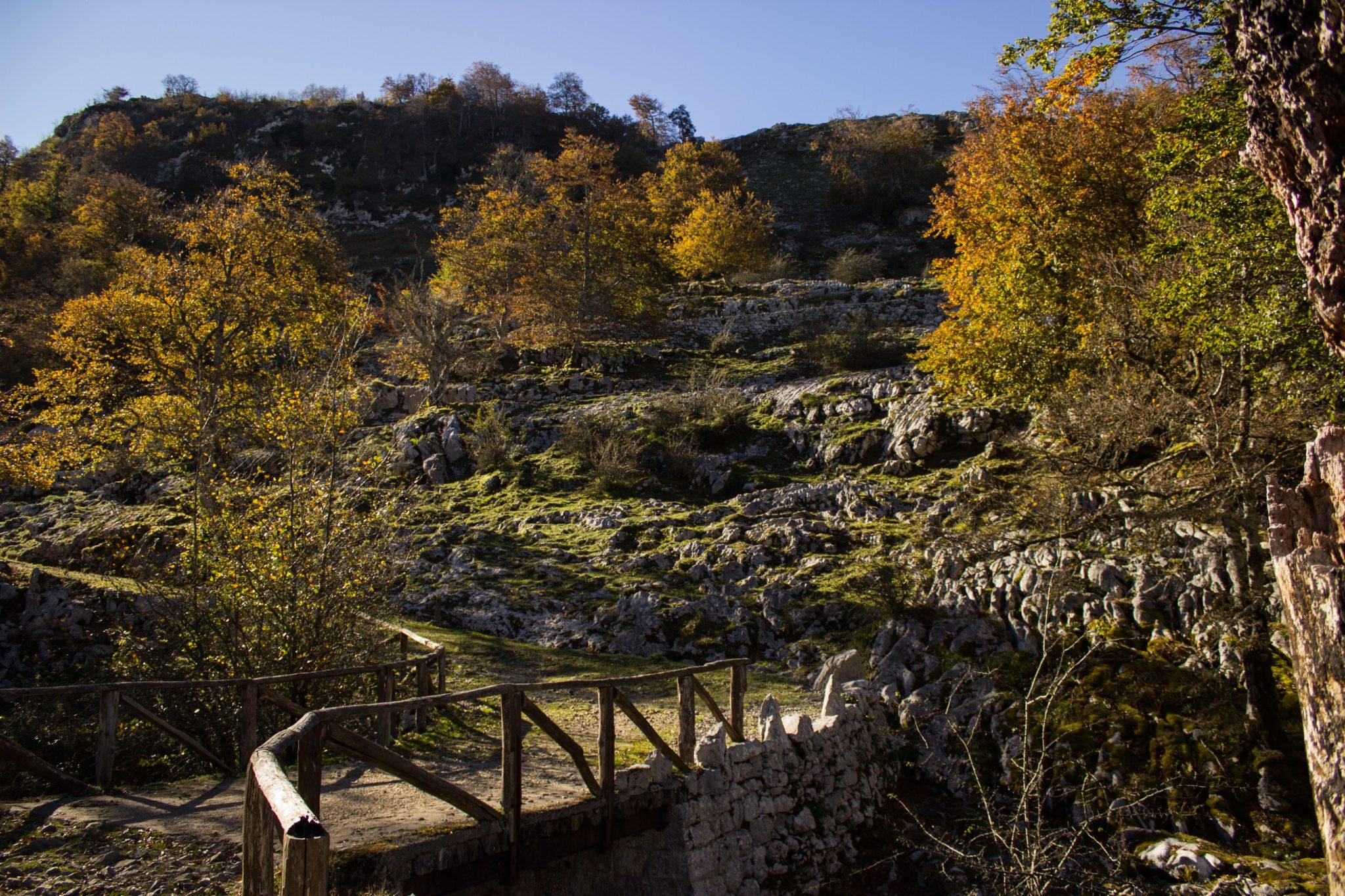 Wanderung Mirador de Ordiales Picos de Europa Spanien,  Herbst, Herbststimmung, Wanderweg, Bäume, Brücke