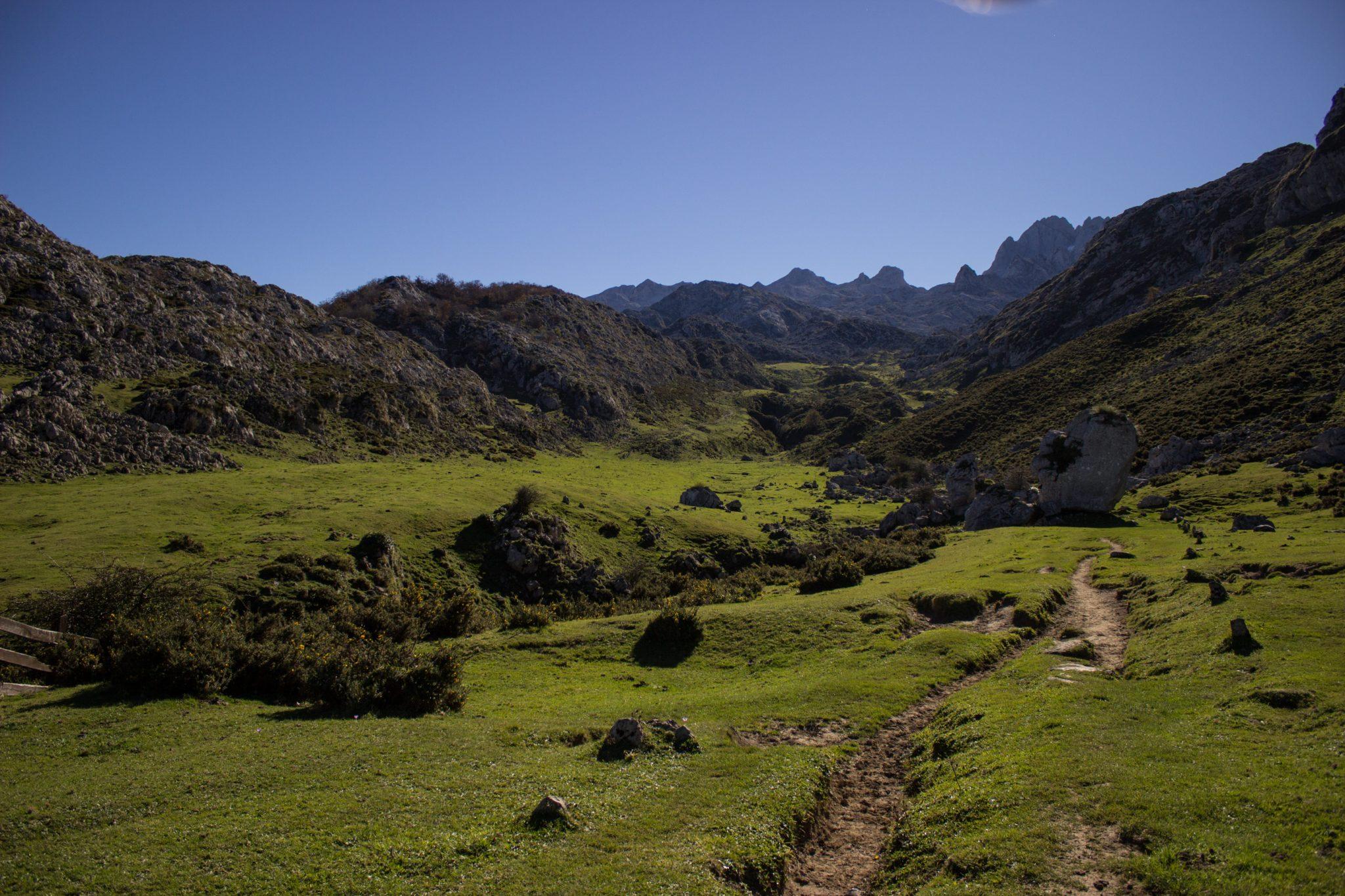 Wanderung Mirador de Ordiales Picos de Europa Spanien, Pfad durch Tal, Berge, saftige grüne Wiesen, strahlend blauer Himmel im Herbst Ende Oktober