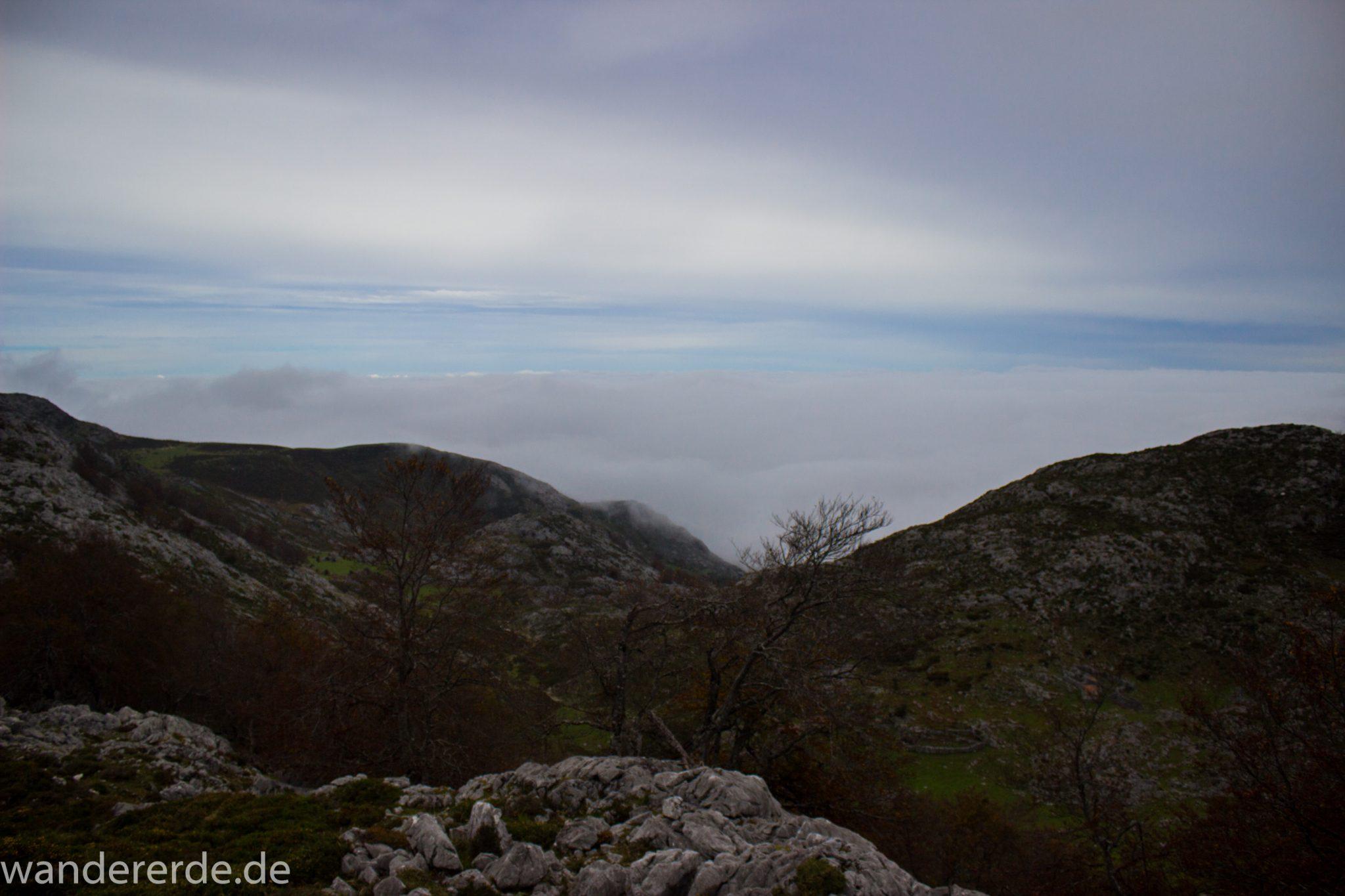 Wanderung Vega de Ario Picos de Europa Spanien, dichtes Wolkenband, Berge und Bäume, Nordspanien, Wandern