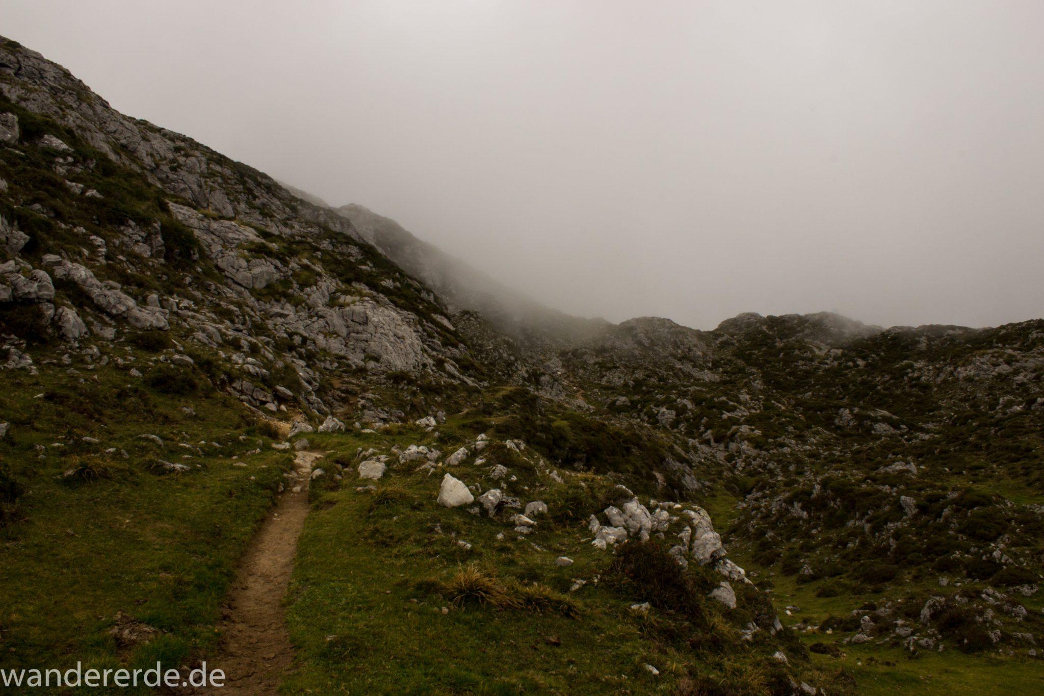 Wanderung Vega de Ario Picos de Europa Spanien, dichte Wolken, Bergregion in Nordspanien, Wandern, grüne Wiesen, zerklüftete Felsen, Steine
