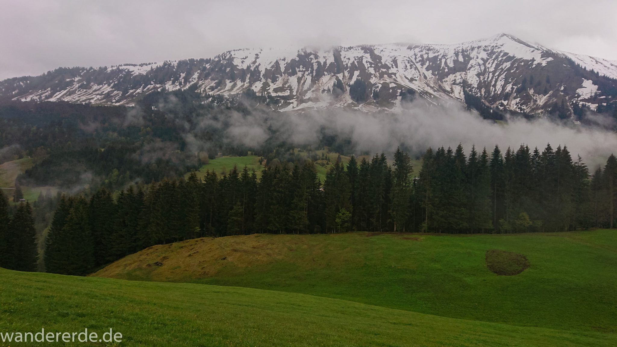 Wanderung bei der Breitachklamm im Allgäu, schöner Wald, saftige Wiesen, Wanderweg zum Waldhaus, Aussicht auf schneebedeckte Berge