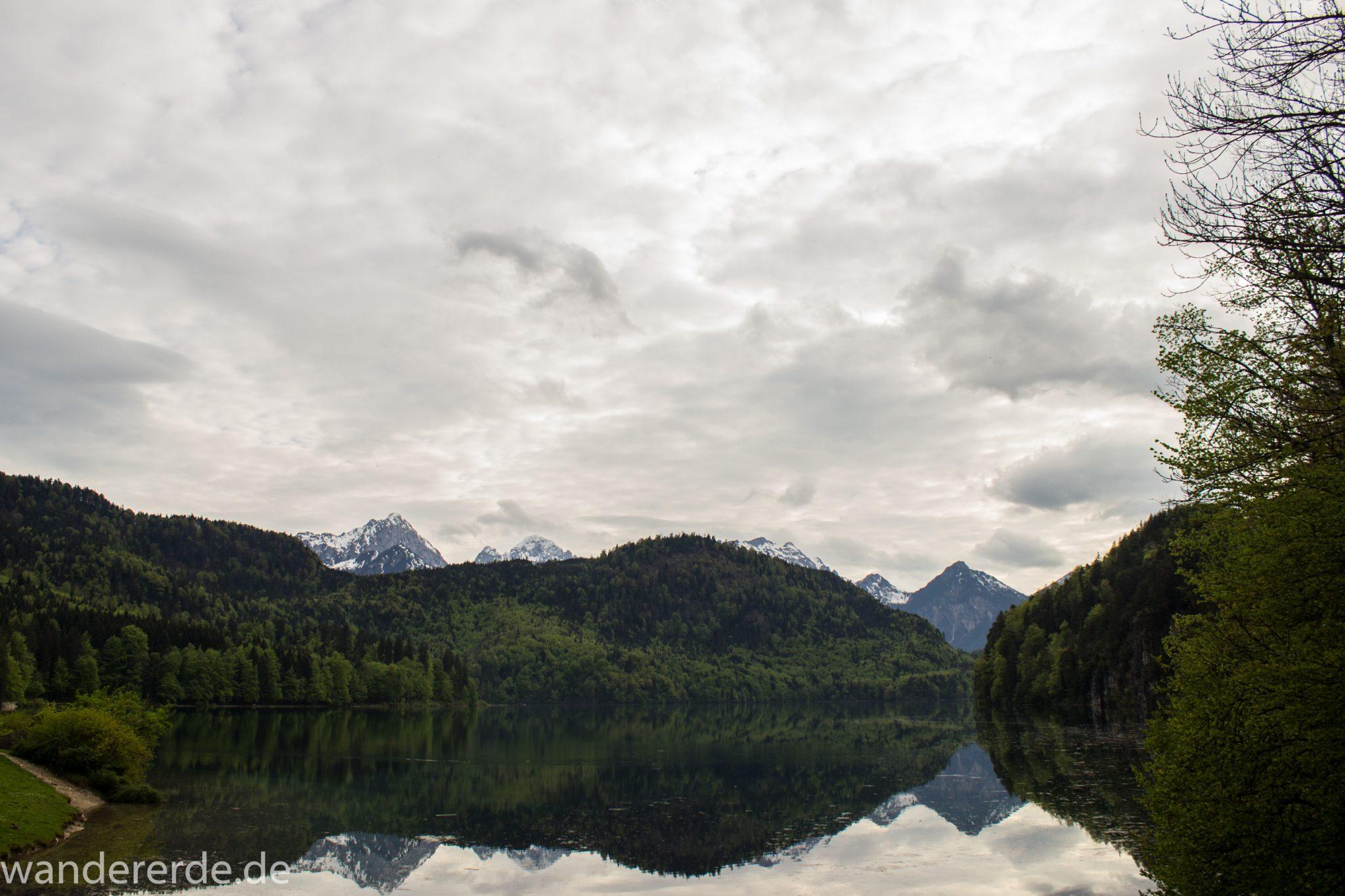 Alpsee bei Hohenschwangau, in der Nähe von Schloss Neuschwanstein, Aussicht auf Alpsee mit grünem Wald ringsrum, Laubbaum, Nadelbaum, dichte Bewölkung, Umgebung spiegelt sich im See, Rundwanderweg um den Alpsee, Bergkette in der Ferne