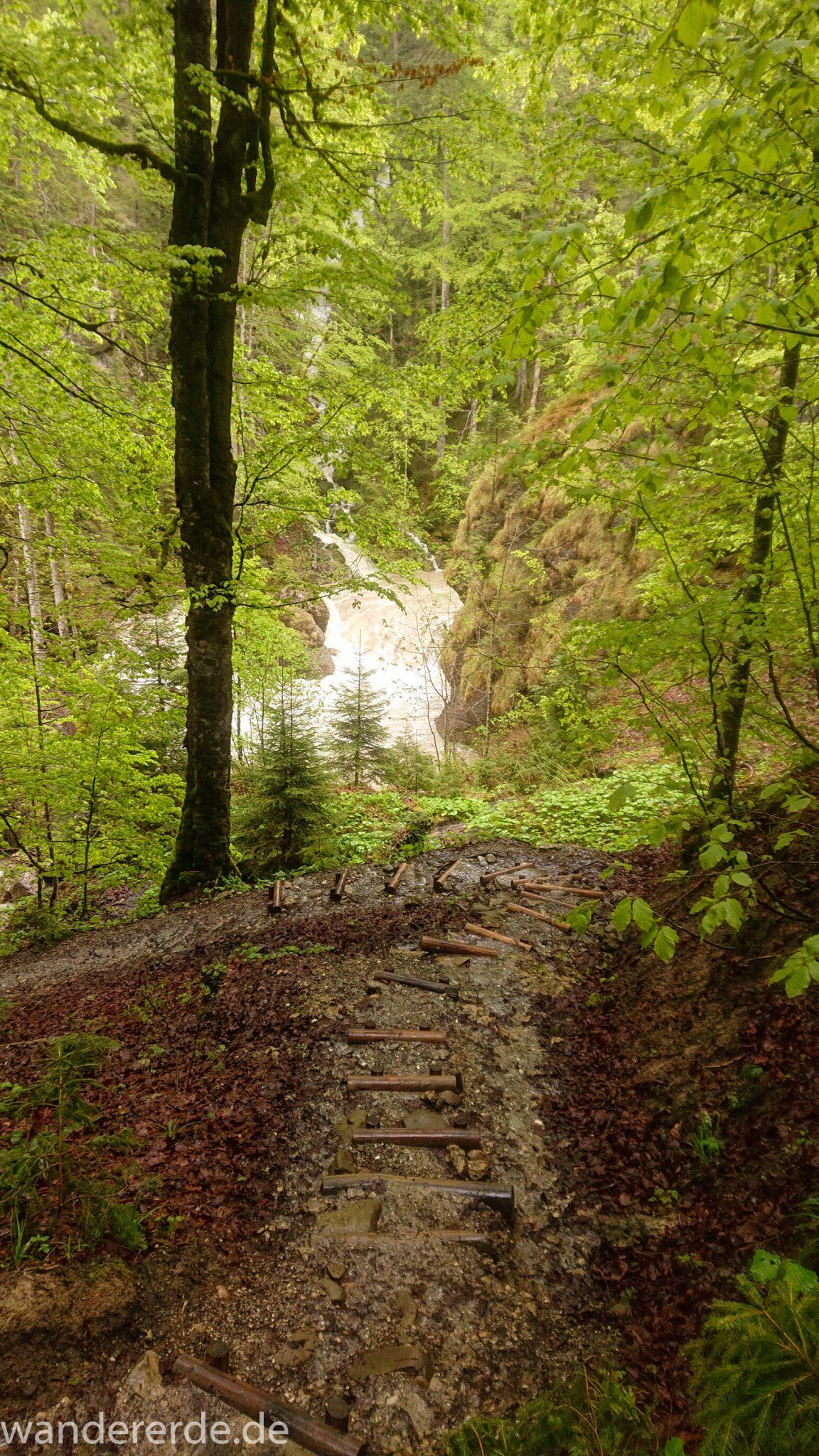 Wanderung Tobelweg ab Gunzesried im Allgäu, Ostertal Tobelweg ab Wanderparkplatz Gunzesrieder Säge wandern, abwechslungsreicher schmaler Pfad zum Ostertal, reißender Fluss nach starken Regenfällen, Fluss tritt beinahe über das Ufer, umgeben von Felsen und schönem, dichtem Mischwald, Treppe führt hinab zum Fluss