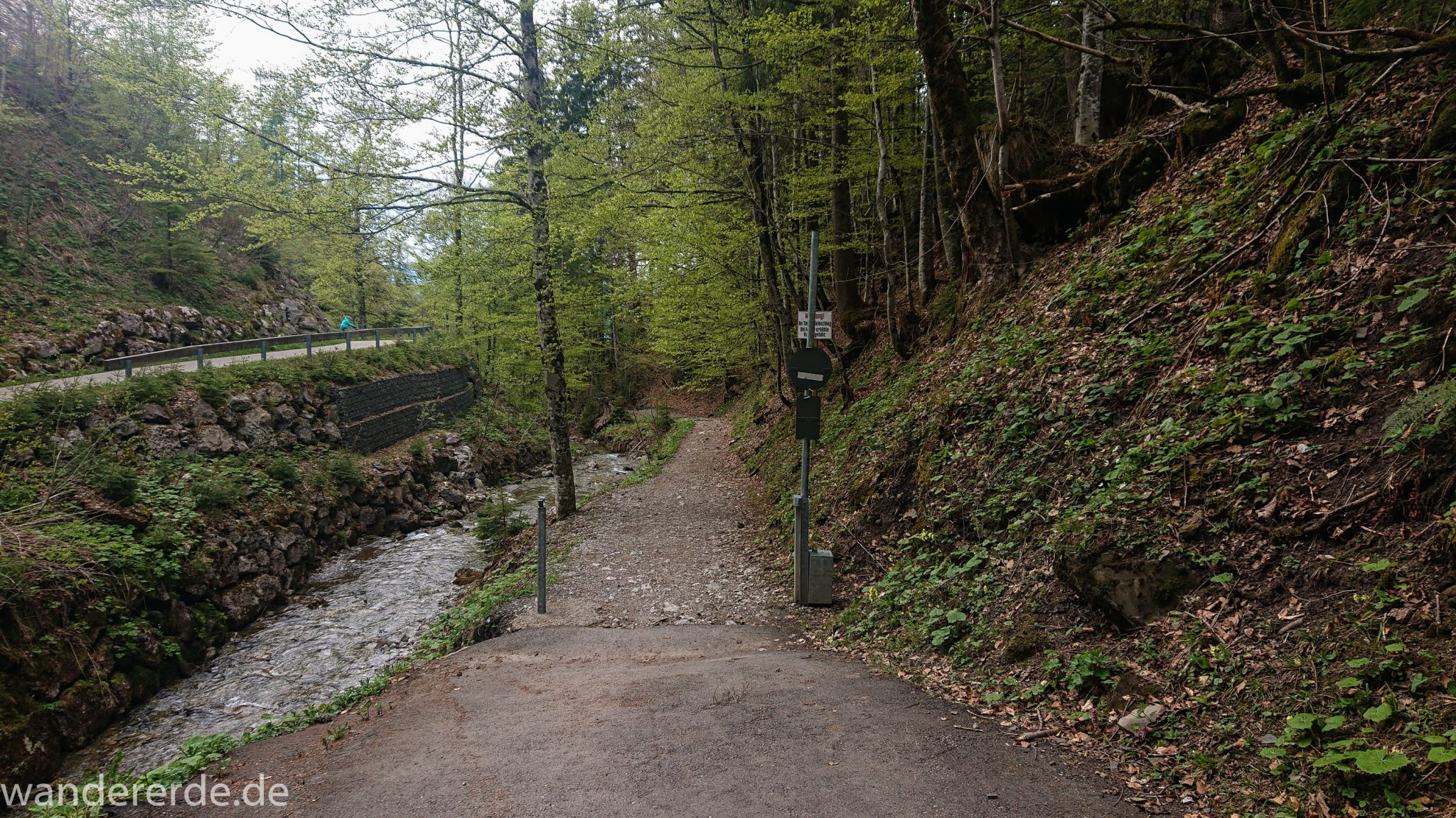Wanderung Unterer Gaisalpsee, Wanderweg von Oberstdorf im Allgäu, Startpunkt des Tobelweg, über Tobelweg zurück nach Oberstdorf, schmaler Kiespfad beim Tobelweg, teils steil und felsig abwärts, umgeben von schönem dichtem Mischwald, abwechselungsreicher Wanderweg