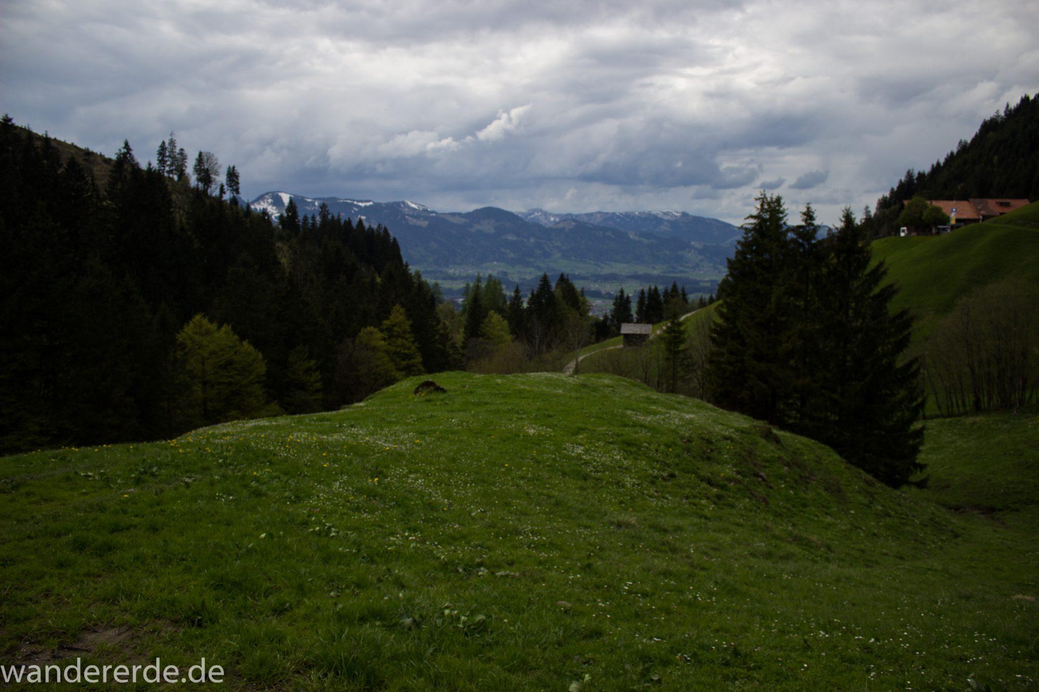 Wanderung Unterer Gaisalpsee, Wanderweg von Oberstdorf im Allgäu, Frühling im Allgäu, umgeben von schönem dichtem Mischwald und saftig grüne Wiesen, Blick auf Berge im Allgäu, abwechselungsreicher Wanderweg von Oberstdorf zum Unteren Gaisalpsee