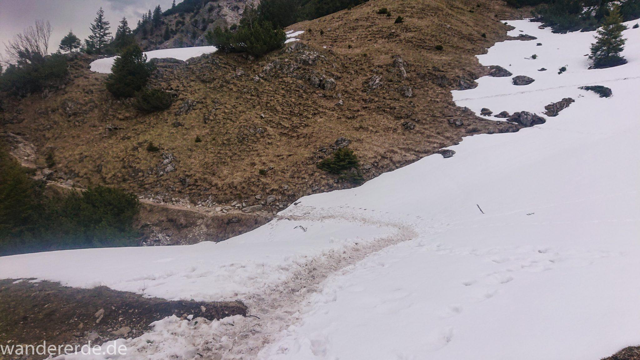 Wanderung Unterer Gaisalpsee, Wanderweg von Oberstdorf im Allgäu, Wanderpfad wird zunehmend schmaler, steil und felsig, weniger Bäume, Blick auf Allgäuer Berge mit Schnee, Unterer Gaisalpsee fast vollständig mit Eis und Schnee bedeckt, Wanderung zu Oberer Gaisalpsee nicht möglich Mitte Mai