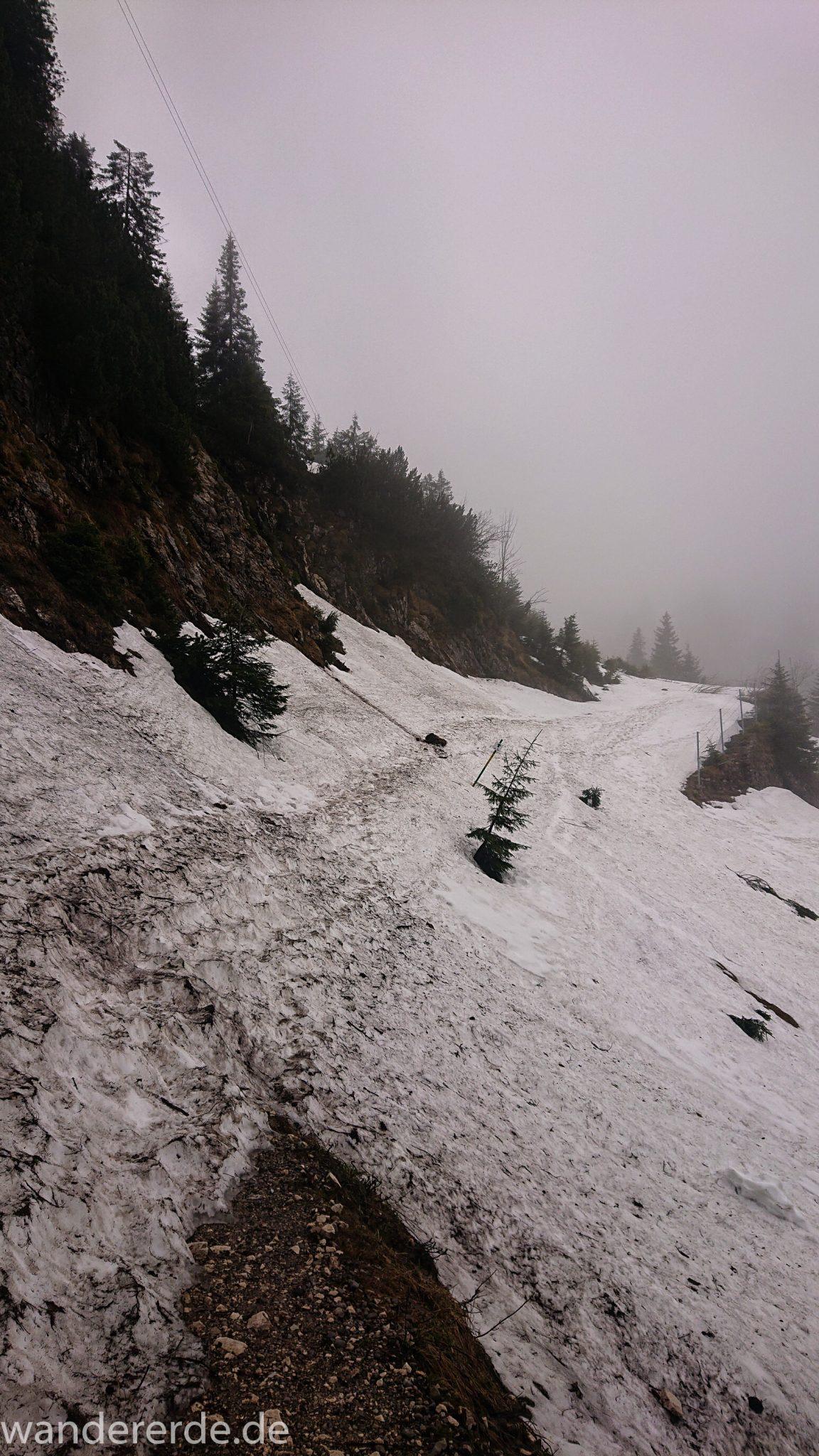 Wandern beim Tegelberg, Tegelbergkopf Wanderung bei Stadt Füssen – Parkplatz Drehhütte bis Rohrkopfhütte, Wanderweg steil bergauf zum Tegelberg, wolkig, tolle Atmosphäre, Schneefeld verhindert weiteres wandern, nicht auszumachen wie weit Schnee liegt und wo der Weg hin führt