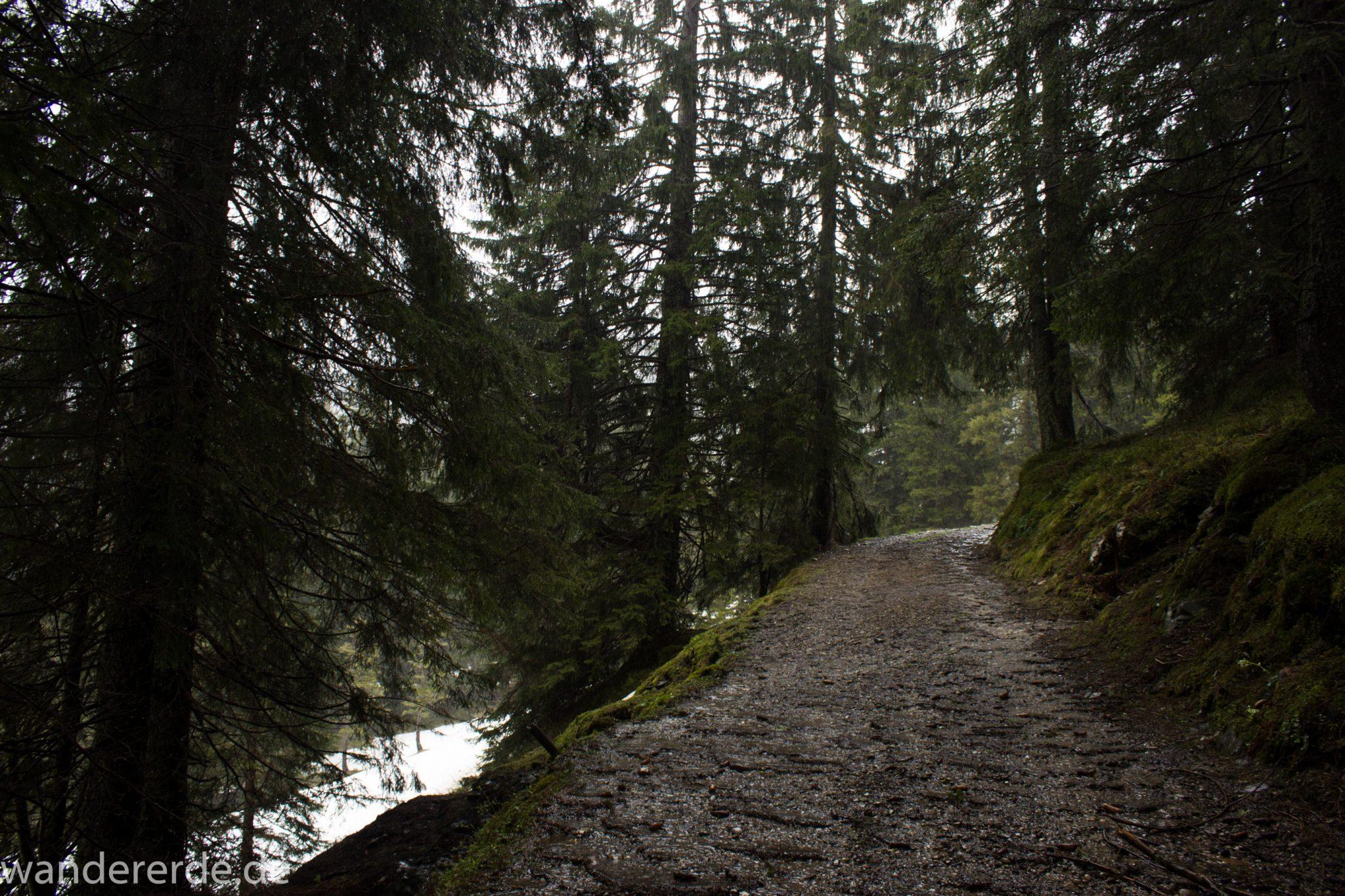 Wandern Gunzesrieder Ostertal im Allgäu, Baden-Württemberg, Obere Älple, viel Regen, dunkle Wolken, Schnee im Mai, saftig grüner Wald, schöne Atmosphäre und Aussicht
