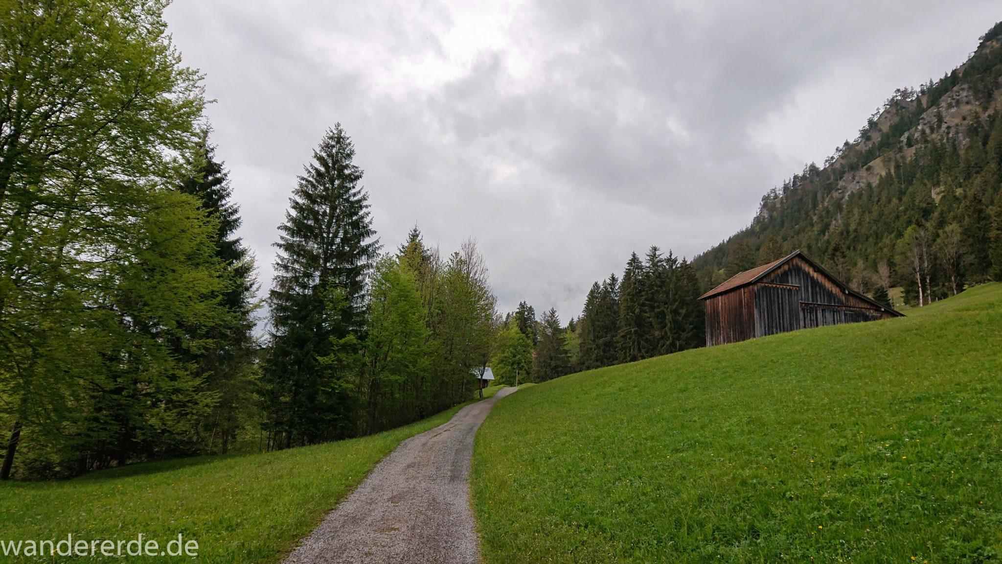 Wanderung im Oytal bei Oberstdorf im Allgäu, Bayern, Wanderung Richtung Oberstdorf über den Kühberg, sehr schöne Atmosphäre bei einsetzendem Regen