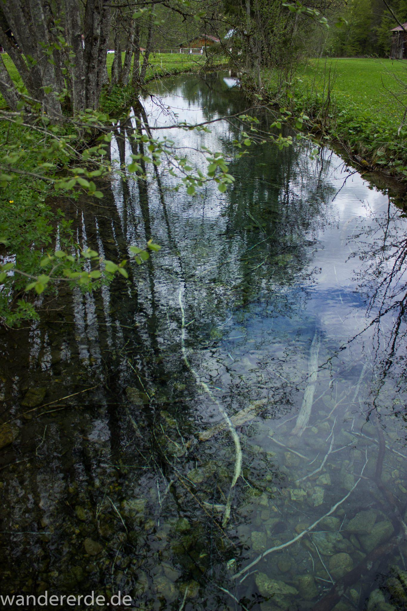 Wanderung Oberstdorf nach Gerstruben im Allgäu, Bayern, Wanderweg durch das Trettachtal zum Christlessee, kristallklares Wasser, sattgrüne Wälder und Wiesen, Frühling in den Bergen