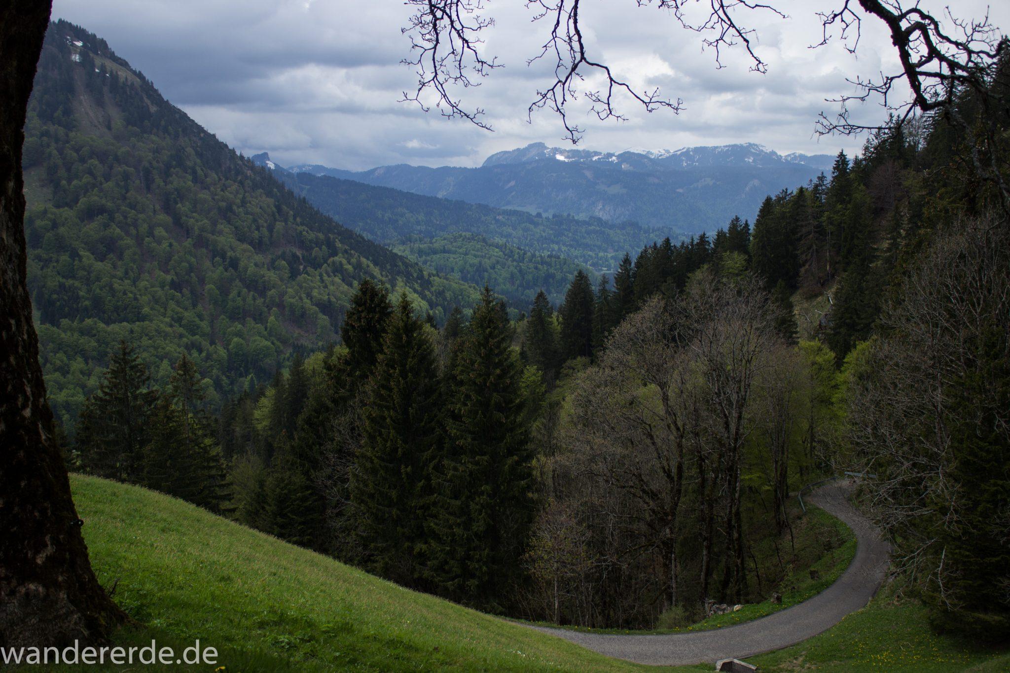 Wanderung Oberstdorf nach Gerstruben im Allgäu, Bayern, Wanderweg Rautweg führt zu schöner Ebene in den Allgäuer Alpen, kaum noch Menschen begegnen uns, grüner Wald und saftig grüne Wiesen, beeindruckende Aussicht auf umliegende Berge