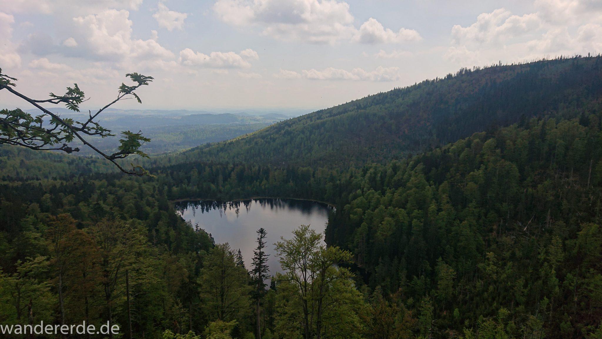 Wanderung Großer Rachel im Nationalpark Bayerischer Wald, Start Parkplatz Oberfrauenau, Aussicht auf den Rachselsee, riesiges Waldgebiet des bayerischen Waldes und Berge in der Ferne, umgeben von schönem dichtem Wald, Mischwald in verschiedensten Grüntönen