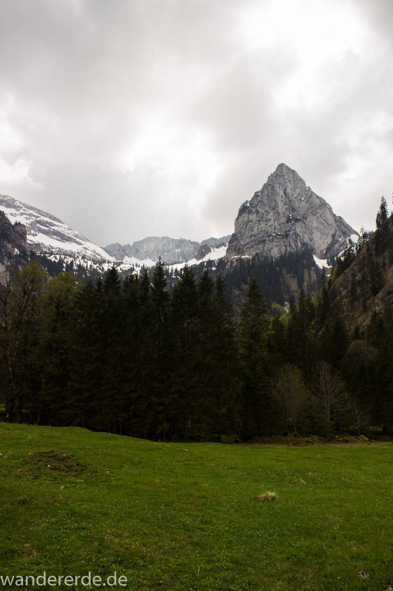 Wanderung zur Kenzenhütte in den Ammergauer Alpen, Aussicht auf die Berge, spitzer Gipfel, Frühjahr in den bayerischen Alpen, Wanderweg entlang dichtem grünen Wald und saftigen Wiesen