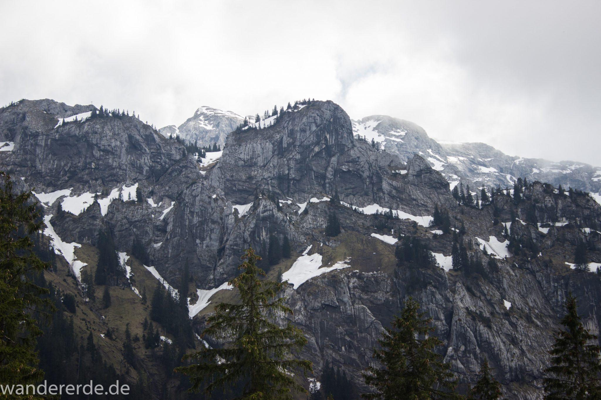 Wanderung zur Kenzenhütte in den Ammergauer Alpen, Aussicht auf die teils schneebedeckten Berge, Frühjahr in den bayerischen Alpen, sehr atmosphärisch durch dichte Wolkenfelder, schöner dichter Wald