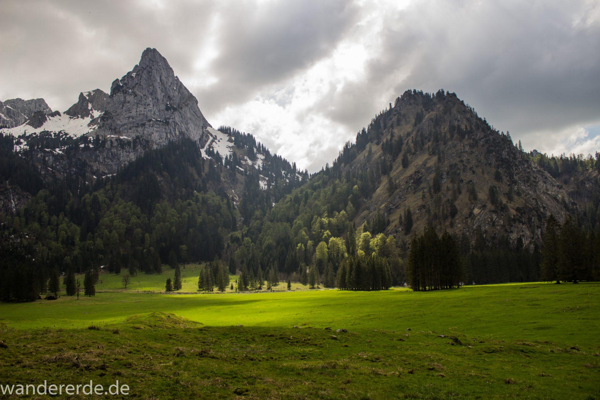 Wanderung zur Kenzenhütte in den Ammergauer Alpen, Aussicht auf die Berge, spitzer Gipfel, Frühjahr in den bayerischen Alpen, Wanderweg führt entlang dichtem grünen Wald und saftigen Wiesen