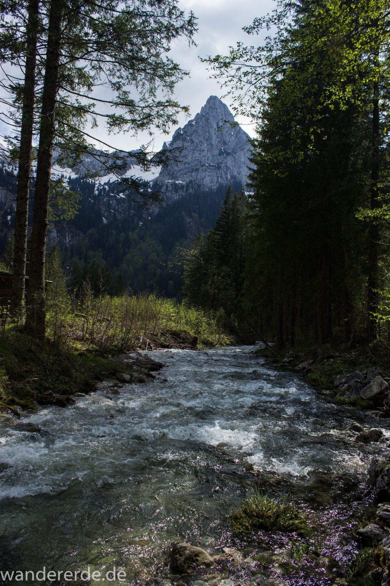 Wanderung zur Kenzenhütte in den Ammergauer Alpen, Aussicht auf die Berge mit imposantem Berggipfel, teils schneebedeckte Berge in Wolken gehüllt, Frühjahr in den bayerischen Alpen, dichter grüner Wald und saftige Wiesen, Wanderweg oftmals am schönen, idyllischem Fluss entlang