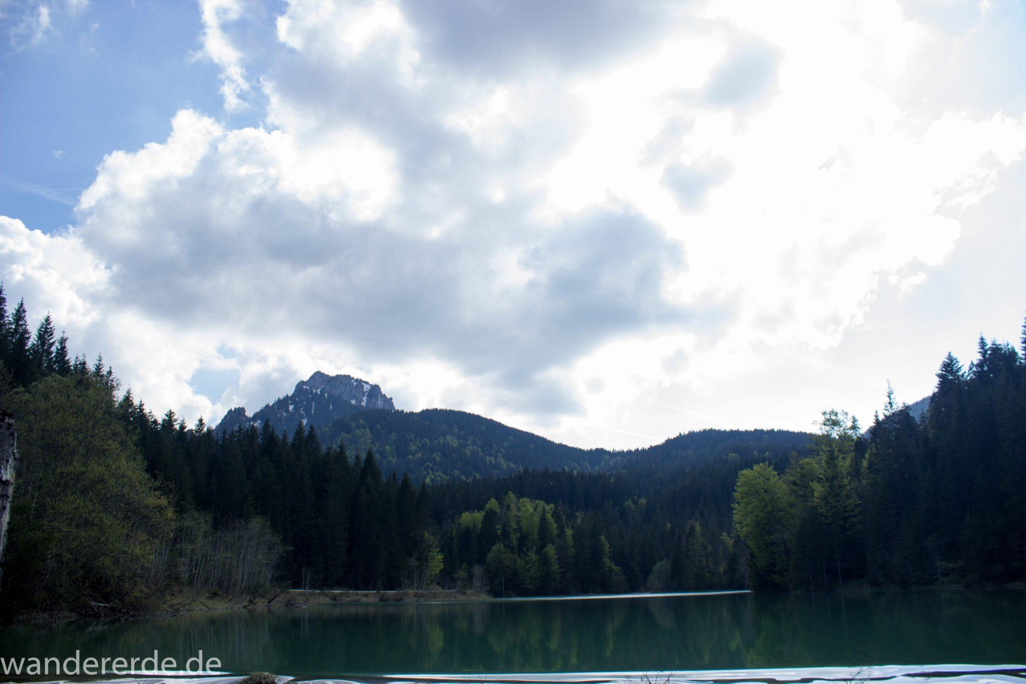 Wanderung zur Kenzenhütte in den Ammergauer Alpen, Aussicht beim Stausee auf die Berge, teils schneebedeckte Gipfel, Frühjahr in den bayerischen Alpen, dichter grüner Wald umgibt den Stausee, klares grünblaues Wasser
