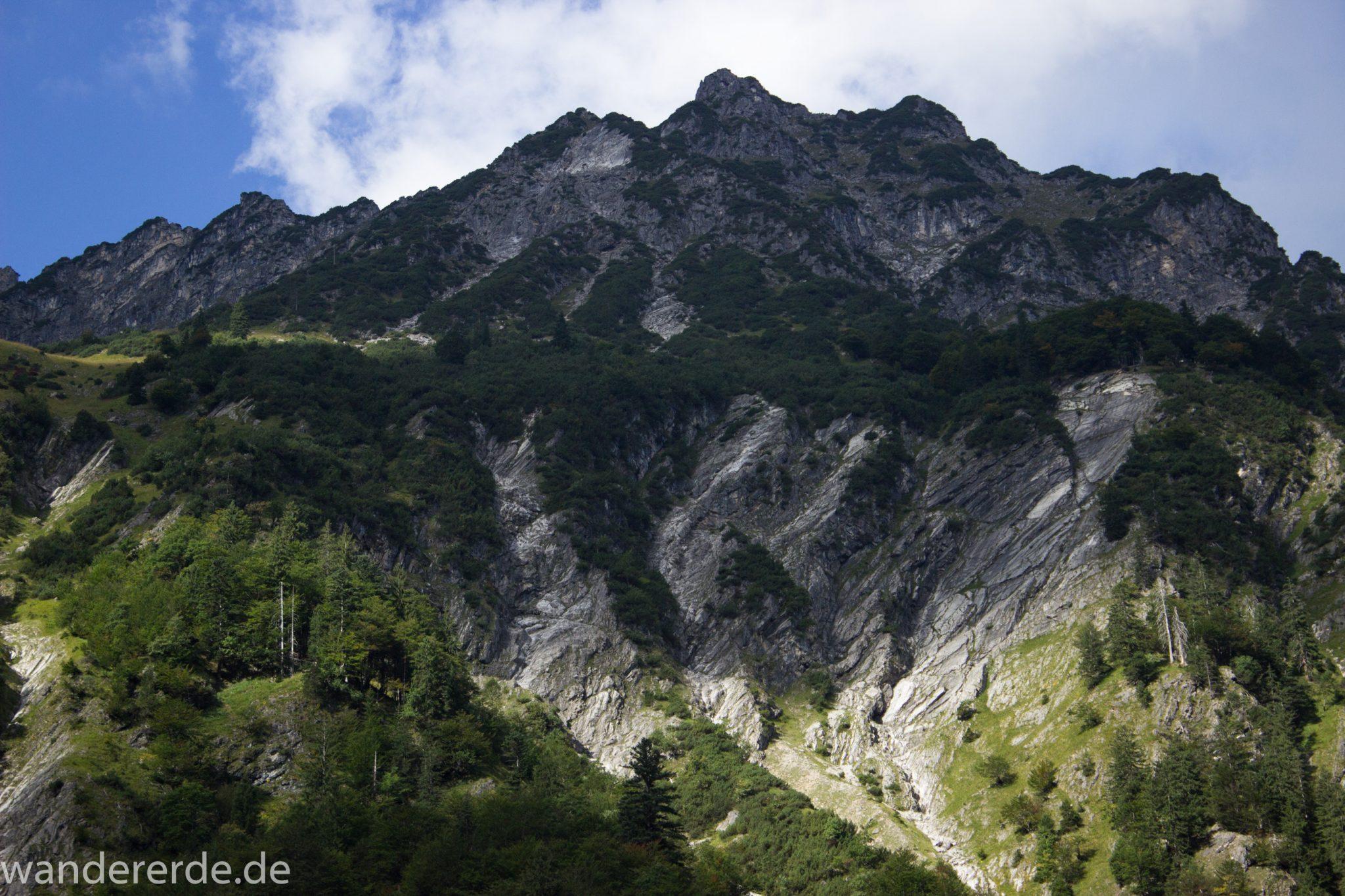 Alpenüberquerung Fernwanderweg E5 Oberstdorf Meran, 1. Etappe von Oberstdorf zur Kemptner Hütte, Wanderweg führt von Oberstdorf zur Spielmannsau entlang saftig grüner Wiesen im Allgäu mit grünem Wald, Aussicht auf die Berge im Allgäu, Bayern