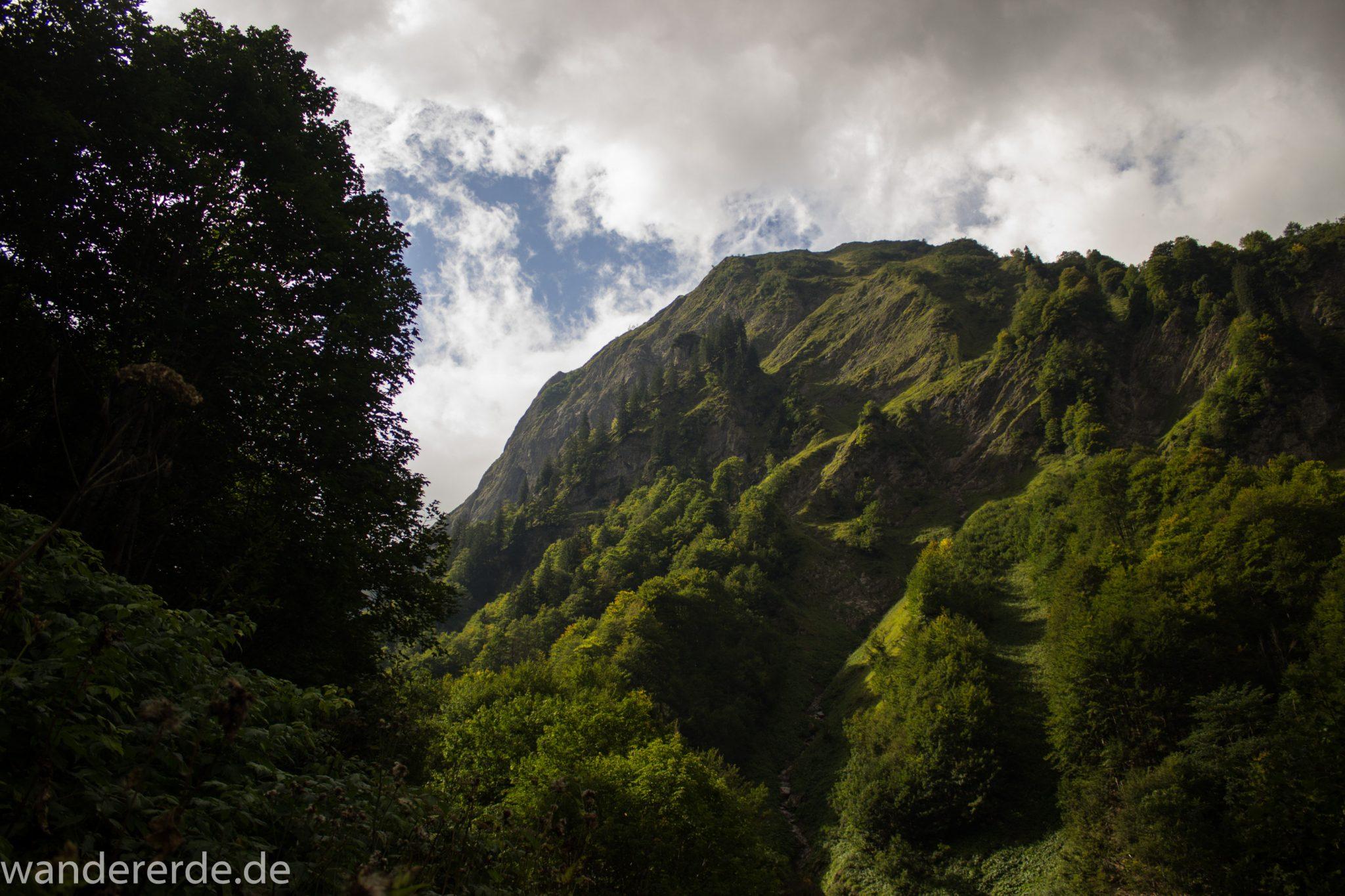 Alpenüberquerung Fernwanderweg E5 Oberstdorf Meran, 1. Etappe von Oberstdorf zur Kemptner Hütte, Wanderweg führt von der Spielmannsau bei Oberstdorf im Allgäu zur Kemptner Hütte  entlang eines schmalen Wanderpfads umgeben von saftig grüner Vegetation, schöner, dichter Wald, Aussicht auf die Berge im Allgäu, Bayern