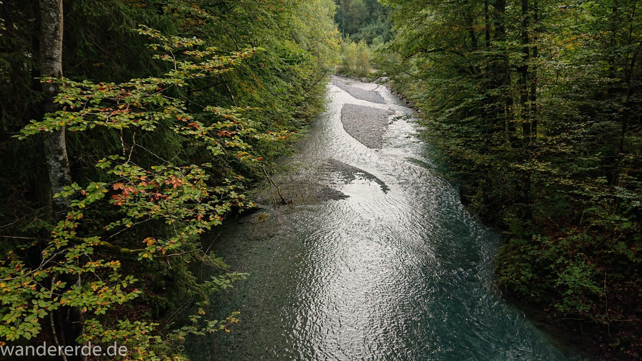 Alpenüberquerung Fernwanderweg E5 Oberstdorf Meran, 1. Etappe von Oberstdorf zur Kemptner Hütte, Wanderweg führt entlang am Fluss Trettach, Aussicht von einer Brücke umgeben von grünem Wald