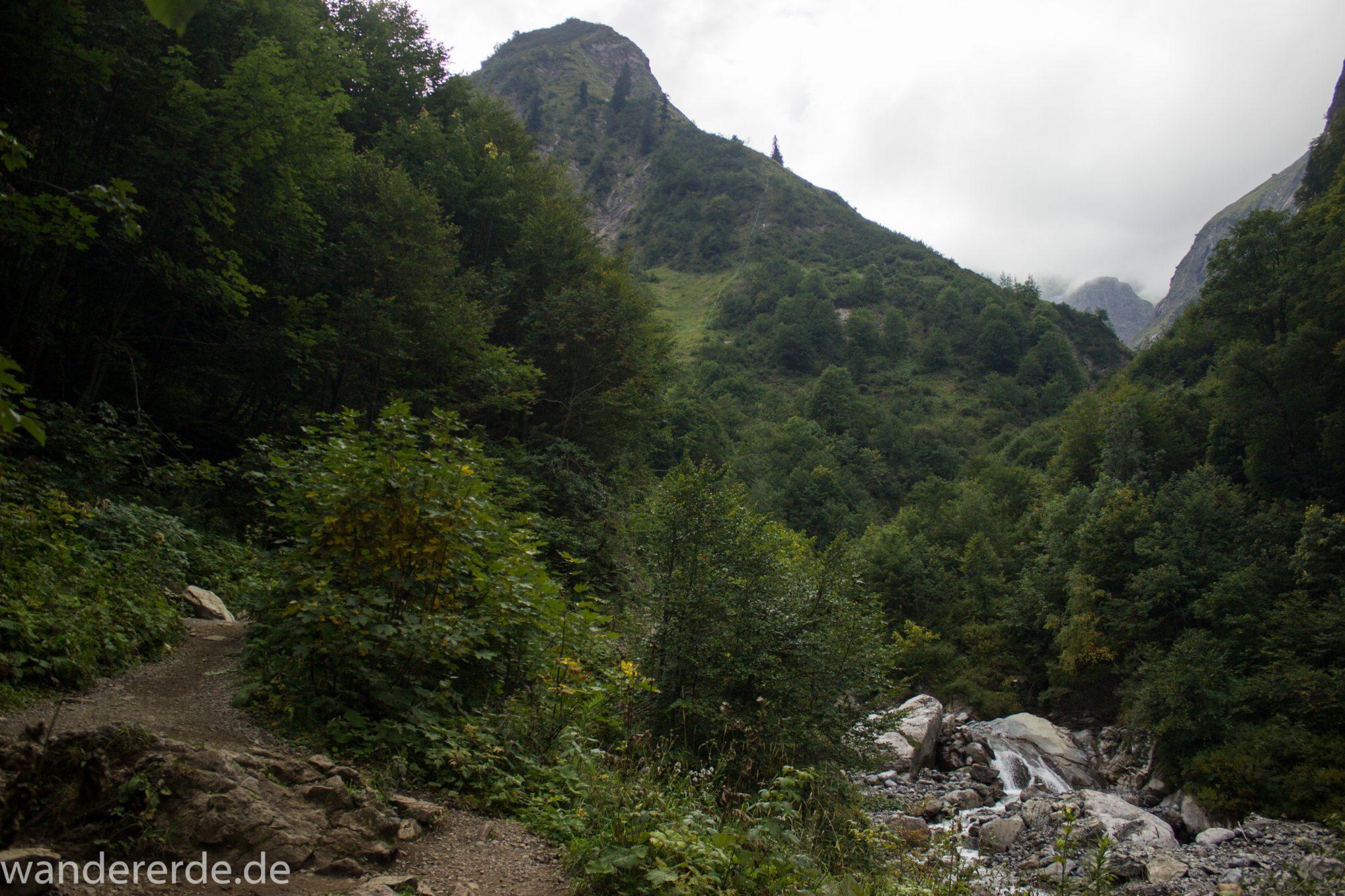 Alpenüberquerung Fernwanderweg E5 Oberstdorf Meran, 1. Etappe von Oberstdorf zur Kemptner Hütte, Wanderweg führt von der Spielmannsau bei Oberstdorf im Allgäu zur Kemptner Hütte  entlang eines schmalen Wanderpfads über Stock und Stein, am Fluss entlang, umgeben von saftig grüner Vegetation, beinahe wie im Dschungel, schöner, dichter Wald, Aussicht auf die Berge im Allgäu, Bayern