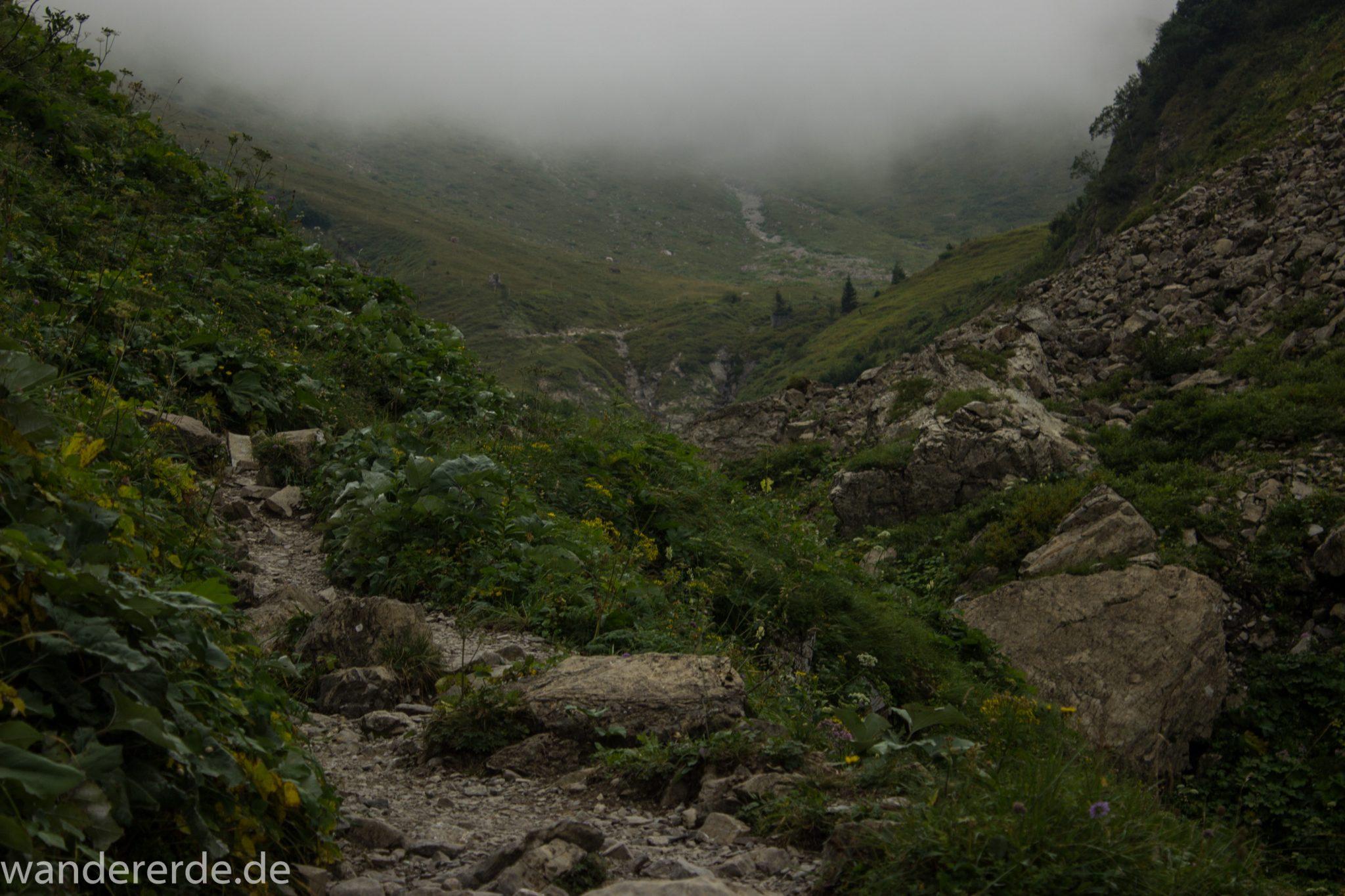 Alpenüberquerung Fernwanderweg E5 Oberstdorf Meran, 1. Etappe von Oberstdorf zur Kemptner Hütte, Wanderweg führt von der Spielmannsau bei Oberstdorf im Allgäu zur Kemptner Hütte entlang eines schmalen Wanderpfads mit saftig grüner Vegetation, über Stock und Stein, Weg durch Sperrbachtobel, Schlucht umgeben von hohen Felswänden in den Bergen, Wegverlauf zunehmend ansteigend, teilweise steil