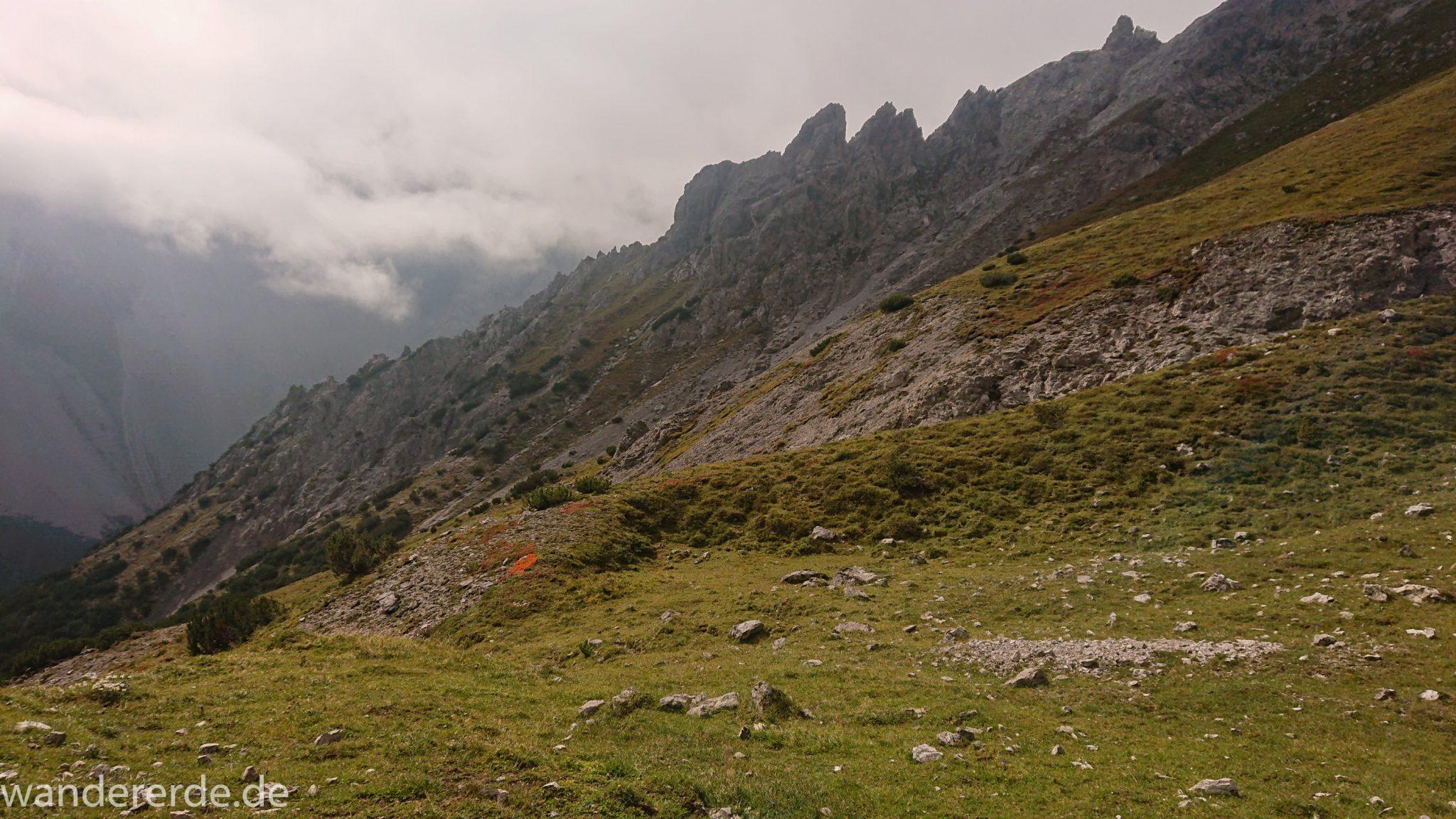 Alpenüberquerung Fernwanderweg E5 Oberstdorf Meran, 3. Etappe von Memminger Hütte zur Skihütte Zams, nach Erreichen der Seescharte folgt ein sehr langer Abstieg ins Lochbachtal Richtung Zams, Aussicht auf Berggipfel und Bergwiesen, Berge und Umgebung liegen teils im Nebel verborgen
