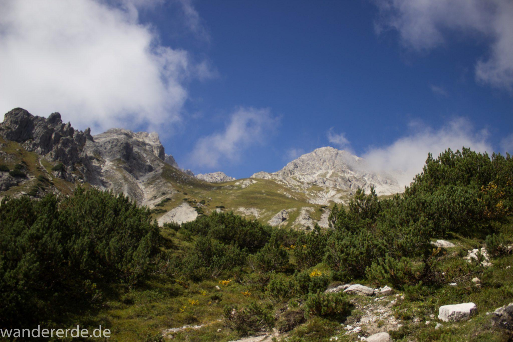 Alpenüberquerung Fernwanderweg E5 Oberstdorf Meran, 3. Etappe von Memminger Hütte zur Skihütte Zams, nach Erreichen der Seescharte folgt ein sehr langer und steiler Abstieg ins Lochbachtal auf schmalem Wanderpfad Richtung Zams, Aussicht auf Berge der Alpen und Bergwiesen, grüne Vegetation ist wieder erreicht