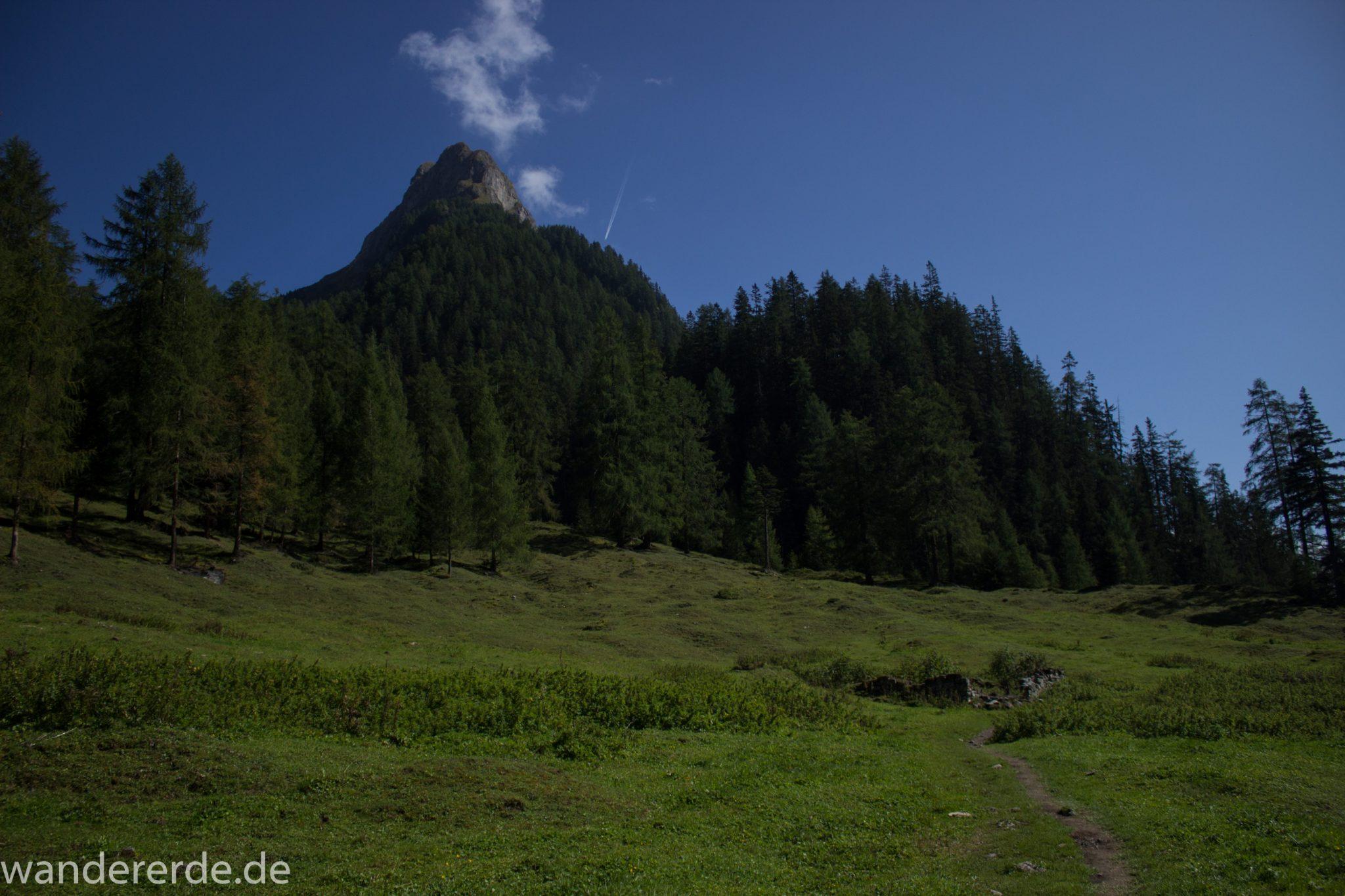 Alpenüberquerung Fernwanderweg E5 Oberstdorf Meran, 3. Etappe von Memminger Hütte zur Skihütte Zams, nach Erreichen der Seescharte folgt ein sehr langer Abstieg auf schmalem Wanderpfad Richtung Zams zunächst durch das Lochbachtal und dann ins Zammer Loch, Abschnitt  mit saftig grünen Wiesen und Bäumen, Wanderweg ist schmal, aber hier kurzzeitig nicht mehr so steil