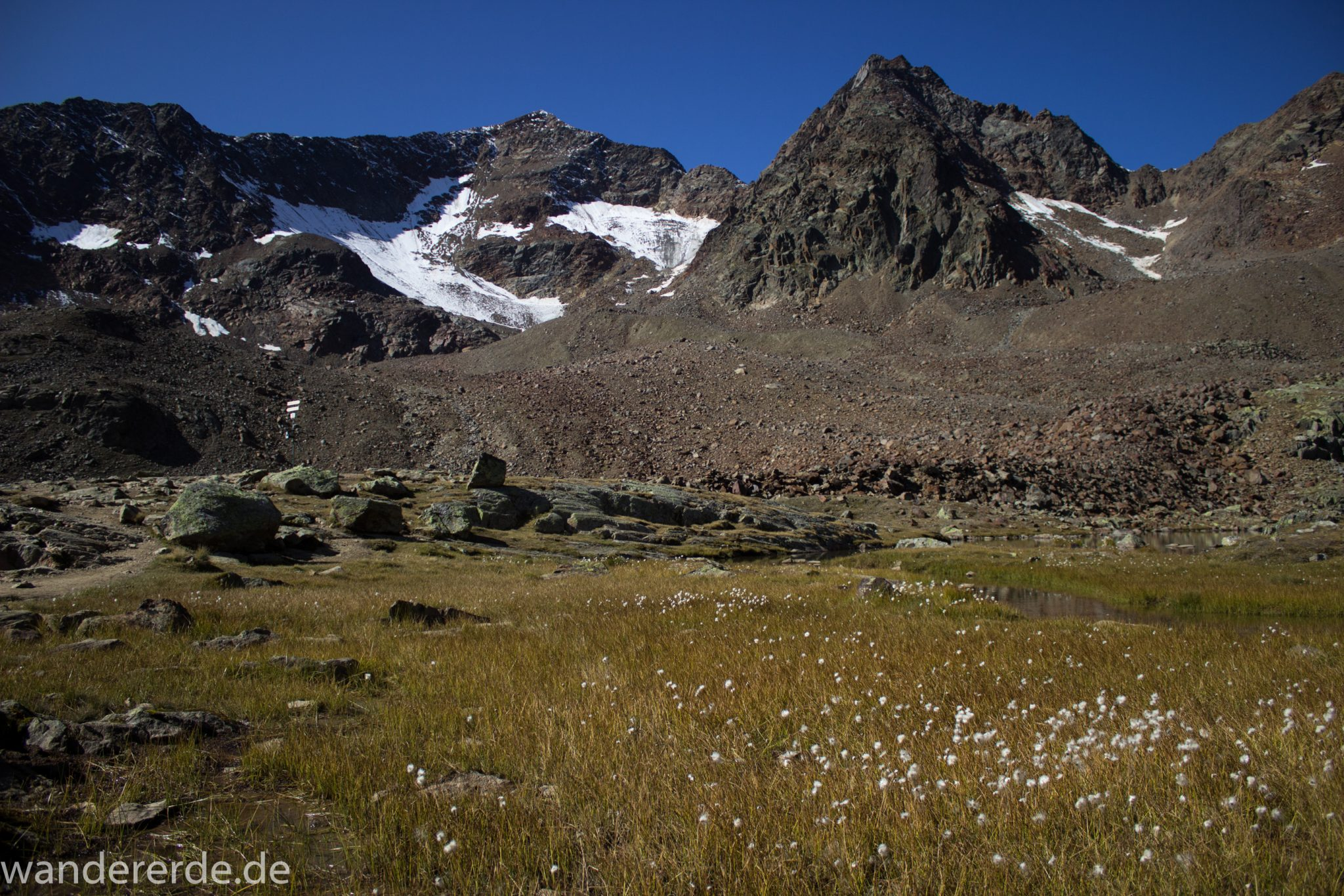 Alpenüberquerung Fernwanderweg E5 Oberstdorf Meran, 5. Etappe von Braunschweiger Hütte zur Martin-Busch-Hütte, Wanderung auf dem neuen Panoramaweg nach Vent dauert 4 Stunden, sehr abwechslungsreiche Wegführung auf schmalem, schönem Wanderweg, Zeit vergeht schnell, immer nur kurze Abschnitte ansteigend bergauf, dann wieder bergab, zauberhafte Ausblicke auf die umliegenden Berge und ins Tal, herrliches Wetter zum Wandern bei strahlendem Sonnenschein, Blick auf Hochebene mit Blumen und kleinem Bach